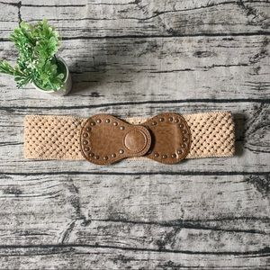 Accessories - 4/$15 Sale Knitted Cream Wide Belt